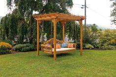 Cedar Pergola Swing Bed Stand on Picsity. I could use my existing swing and suspend it from the pergola!