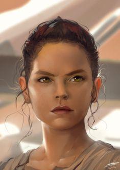 Rey, Richard Sashigane on ArtStation. Star Wars Love, Rey Star Wars, Star War 3, Star Wars Fan Art, Star Trek, Star Citizen, Luke Skywalker Force Awakens, Fanart, Episode Vii