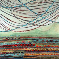 """(c) Barbara Gilhooly, 'String Theory: Festive', 16"""" x 16"""", acrylic, ink, carved drawing on birch string-theory-2013 by gilhooly studio, via Flickr"""