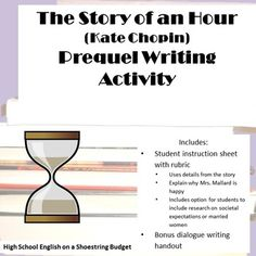 """For use with the text """"The Story of an Hour"""" by Kate Chopin. Students will write a prequel to help show and explain why Mrs. Mallard is so happy to be free of her husband. Students will include reference to the original text as well as properly punctuated dialogue. Writing Dialogue handout and grading rubric included."""