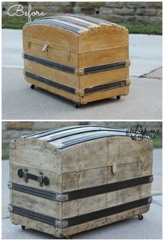 Saving the Steamer Trunk — High Style ReStyle This steamer trunk from the 1800's was in desperate need of a makeover after being painted and wallpapered.