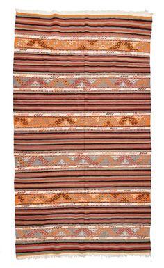 Striped Balikesir Kilim Rug around 40 years old.