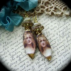 Golden Maiden assemblage earrings mixed media by anvilartifacts