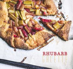 Rhubarb Galette - love how the type reflect the colours of the tart