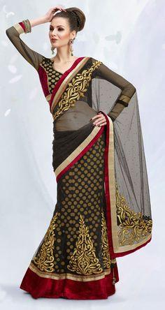USD 111.38 Black Faux Georgette Wedding Lehenga Saree 42457