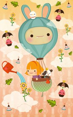 'The Great Escape', very cute and adorable illustration by Silvia Portella.  So cheerful! ^________^