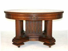 98: American Oak Gothic Revival Dining Table with Spira : Lot 98