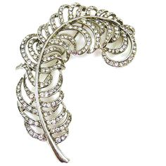 Kenneth Jay Lane Crystal  and  Silver Feather Brooch Pin