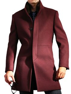 Burgundy short coat tailored to your exact measurements.