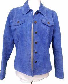 Blue Suede Leather Jacket Five Diamonds Womens size S Button Front Coat Small #fivediamonds #BasicJacket