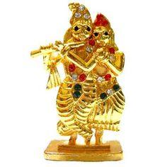 Stone Studded Radha Krishna Miniature Idol