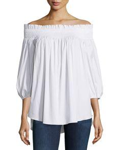 Lou Off-The-Shoulder Solid Top, White - Caroline Constas