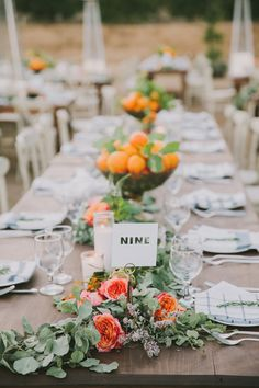 tropical inspired tablescape - photo by Fondly Forever Photography http://ruffledblog.com/california-orange-grove-wedding