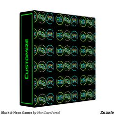 Black & Neon Gamer 3 Ring Binder Binder Inserts, 3 Ring Binders, Black Neon, Binder Design, Custom Binders, Unique Weddings, Portal, Keep It Cleaner