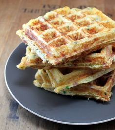 Bacon Cheddar Chive Waffles (Breakfast) -- Ingredients:  Buttermilk, Cheddar, Chives, Bacon.