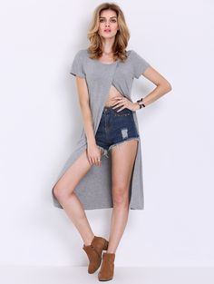 Online shopping for Grey Cap Sleeve Split Front T-shirt from a great selection of women's fashion clothing & more at MakeMeChic.COM.