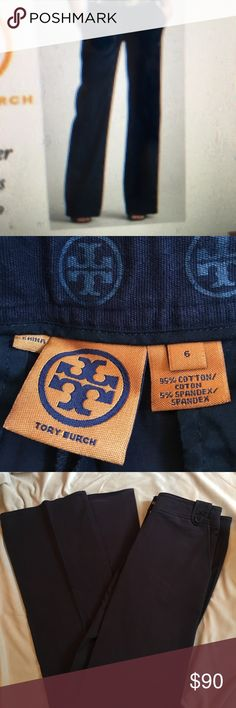 Tory Burch navy blue cotton pants These are a great pair of Tory Burch navy blue cotton pants 95% cotton 5% spandex. A classic pant but with a designer details and cut. Tory Burch buttons on loop waist band. In great condition. Tory Burch Pants Wide Leg