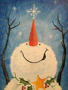 Browse our upcoming painting classes and events at Naperville Pinot's Palette! Reserve your seat for the best paint and sip experience today! Snowman Crafts, Christmas Projects, Holiday Crafts, Christmas Paintings On Canvas, Snowmen Paintings, Christmas Artwork, Primitive Christmas, Country Christmas, Pintura Country