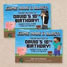 minecraft creeper [nvitations | Minecraft Creeper Birthday Invitation Loveli Etsy Pictures