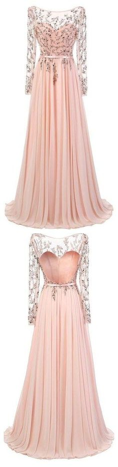 Long Prom Dresses, Sexy Prom Dresses,Floor Length Pink Chiffon Prom/Evening Dress With Long Sleeves #homecomingdresses