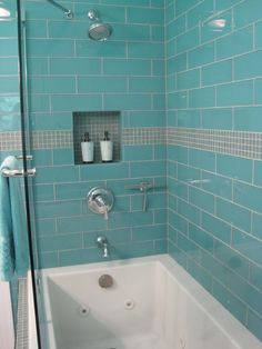 Large aqua 4 x 12 large glass subway tile shower enclosure…