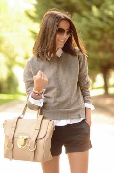 button up, sweater, shorts, big bag, accessories