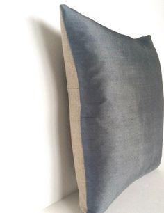 Blue-Grey Silk & Natural Linen Luxurious Handmade Square Cushion - Var – Kirsty Gadd Textiles