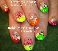 Nail Art Tutorial | Neon Spring Nails! | Rainbow Butterfly Nail Design a...