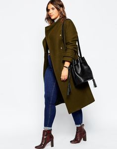 ASOS CURVE Funnel Neck Coat