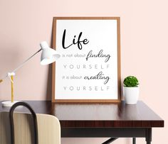 Life is about creating yourself - life quote printable   inspirational quote wall art, motivational quotes, office wall art, dorm decor art by SmallMiraclePrints on Etsy