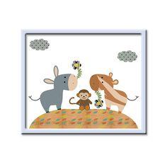 Animales infantiles arte bebé vivero pared arte por artbynataera