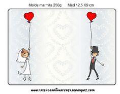 Imprimibles gratis para bodas de novios con globos y corazones.