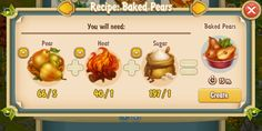 Golden Frontier Baked Pears Recipe