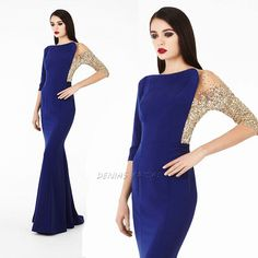 Sequined Half Long Sleeve Blue Evening Gown