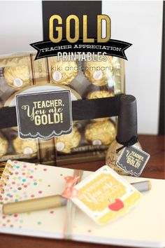 Gold Teacher Appreciation Printables. Take a look at all these ways to show your teacher you are thankful with these FREETeacher Appreciation Printables plus more teacher appreciation Ideas on Frugal Coupon Living..