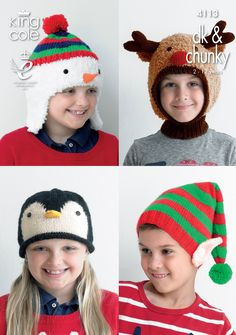 Knitting Pattern King Cole 4113 Childrens DK and Chunky Christmas Novelty Hats Novelty Christmas Hats, Novelty Hats, Childrens Christmas, Kids Christmas, Christmas Jumpers, Christmas Crafts, Knitting Patterns Uk, Jumper Knitting Pattern, Christmas Knitting Patterns
