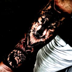 Wolf Lower Arm Tattoo - Best Arm Tattoos For Men: Cool Upper, Lower, Inner, Front, Back and Side Arm Tattoo Designs and Ideas For Guys #tattoos #tattoosforguys #tattoosformen #tattooideas #tattoodesigns #first tattoo #gift tattoo Lower Arm Tattoos, Cool Arm Tattoos, Arm Tattoos For Guys, Infected Tattoo, Tattoo Moon, Eyebrow Tattoo, Tattoo Small, First Tattoo, Tattoo Drawings