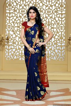 Buy Mimosa By Kupinda Women's Chiffon Saree Kanjivaram Style Color :navy Blue (3396-2117-nvy-rd) online. ✯ 100% authentic products, ✯ Hand curated, ✯ Timely delivery, ✯ Craftsvilla assured. O1.