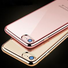 Di lusso di Doratura Elettrolitica Di Cristallo Custodia Trasparente Per Apple Iphone 7 7 più 6 6 S più 5 5 S SE Molle Del Silicone TPU Trasparente Cover Bag Phone