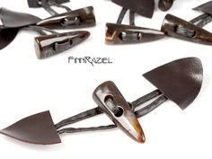brown Synthetic leather with toggle clasp 3 pair by finnraziel