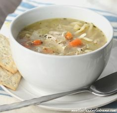 This healthy, Easy Turkey Soup is made from a leftover turkey carcass and is a great way to use up all that extra Thanksgiving turkey!
