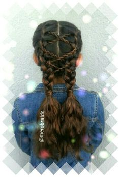 Simple school hairstyle with frenchbraids pigtails and rope braids accent