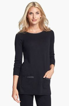 Amber Sun Faux Leather Trim Tunic | Nordstrom