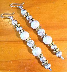 Elegant Long Dangle Beaded Earrings OOAK