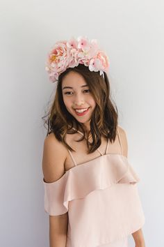 light pink spring racing flower crown fascinator // spring races fascinator headband, statement floral headpiece, melbourne cup, oaks day