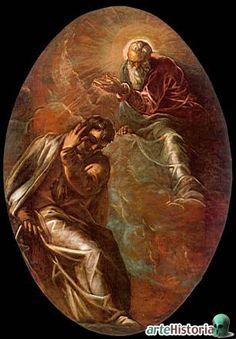 Tintoretto. Dios se manifiesta a Moisés que no puede soportar la visión y aparta la mirada.
