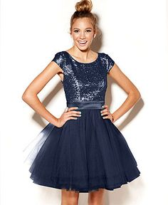 Trixxi Juniors Dress- Cap Sleeve Sequin Tulle - Juniors Homecoming ...