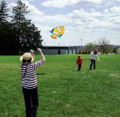 More than 100 students joined residents of the Charlestown Retirement Community for a Kite Flying Contest.