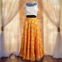 Crop top with mustard yellow skirt. Product Code - A9 For price and further information, contact +91 9660590061  #signoria #sarees #suits #lehengas #skirt #croptop #classy #clothingbrand #weddingdresses #designerclothes #ethnicwear #fashion #grace #womenfashion #jaipurfashion #cityshorjaipur #jaipurdiaries #tailoria #jaipur #rajasthan #india