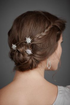 BHLDN hair clips, but more importantly the simplicity of the braid into the bun